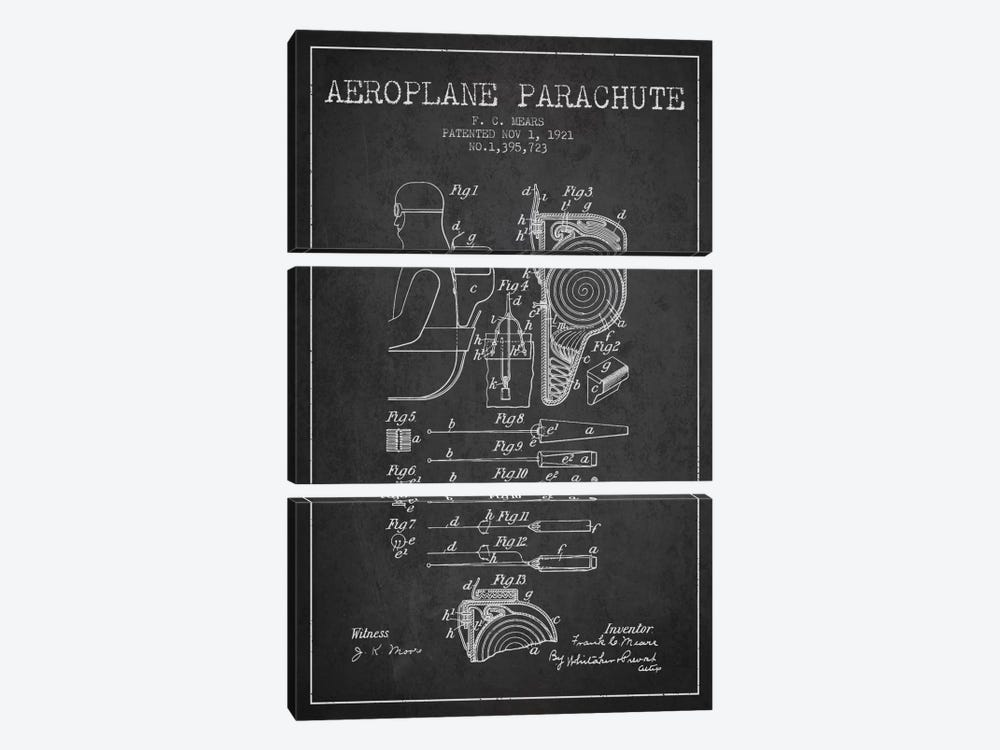 Parachute 5 Charcoal Patent Blueprint by Aged Pixel 3-piece Canvas Art