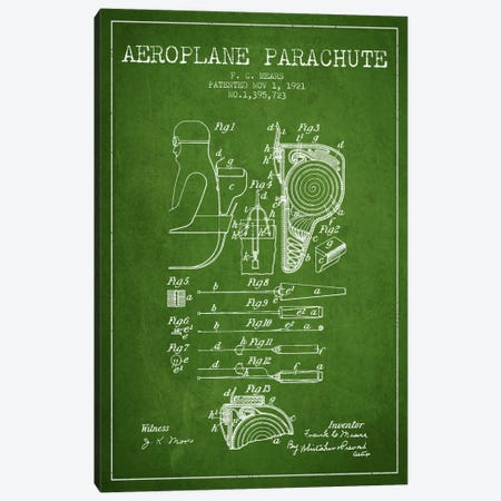 Parachute 5 Green Patent Blueprint Canvas Print #ADP2426} by Aged Pixel Canvas Art Print