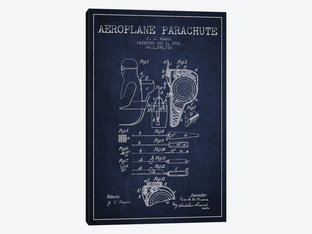 Parachute 5 Navy Blue Patent Blueprint by Aged Pixel 1-piece Canvas Wall Art