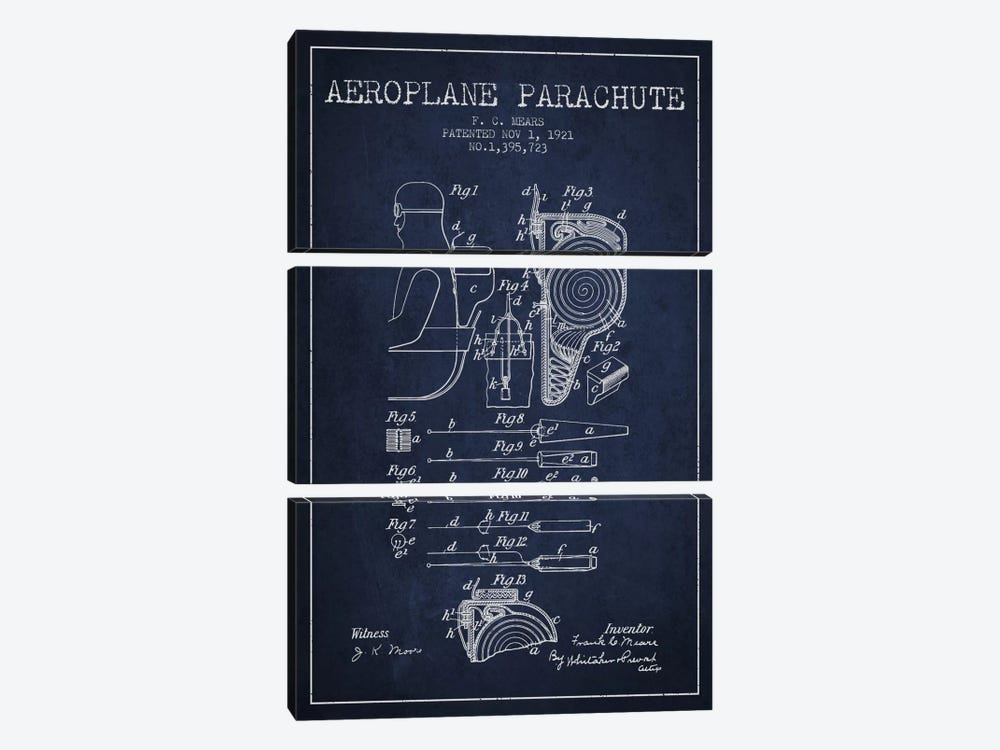 Parachute 5 Navy Blue Patent Blueprint by Aged Pixel 3-piece Canvas Artwork