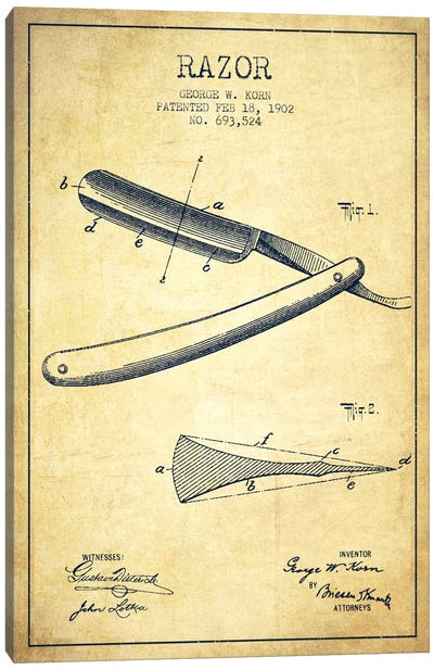 Razor Vintage Patent Blueprint Canvas Print #ADP242