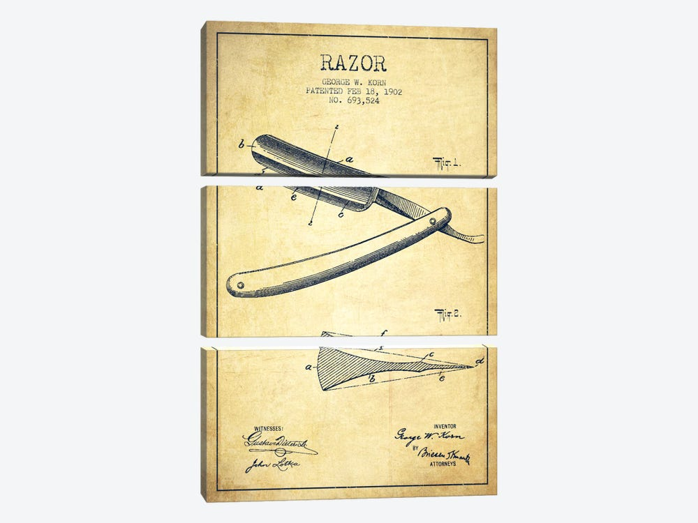 Razor Vintage Patent Blueprint by Aged Pixel 3-piece Canvas Artwork