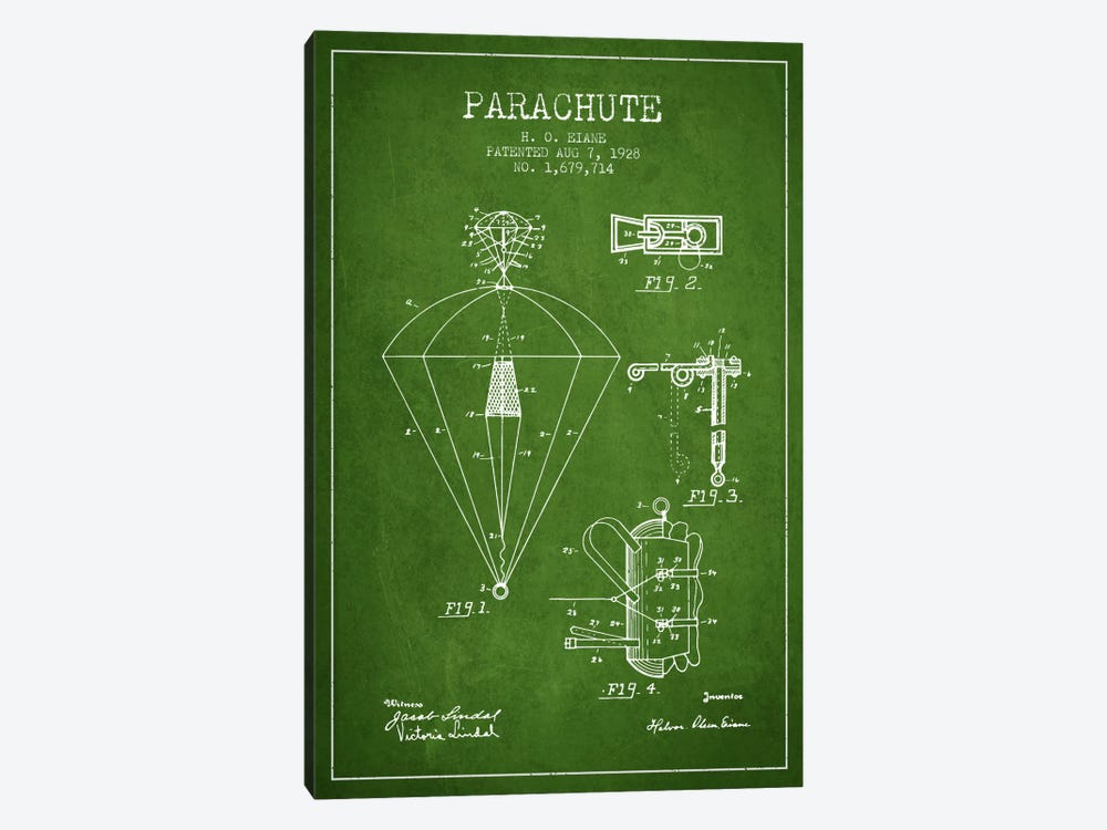 Parachute 6 Green Patent Blueprint by Aged Pixel 1-piece Art Print