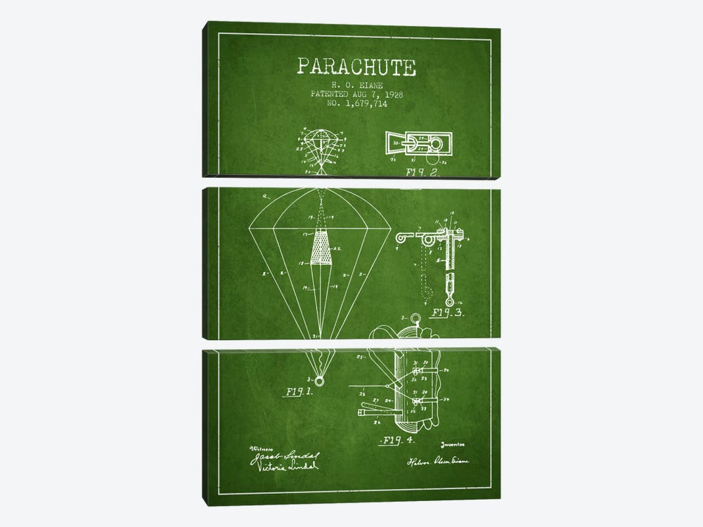 Parachute 6 Green Patent Blueprint by Aged Pixel 3-piece Canvas Art Print