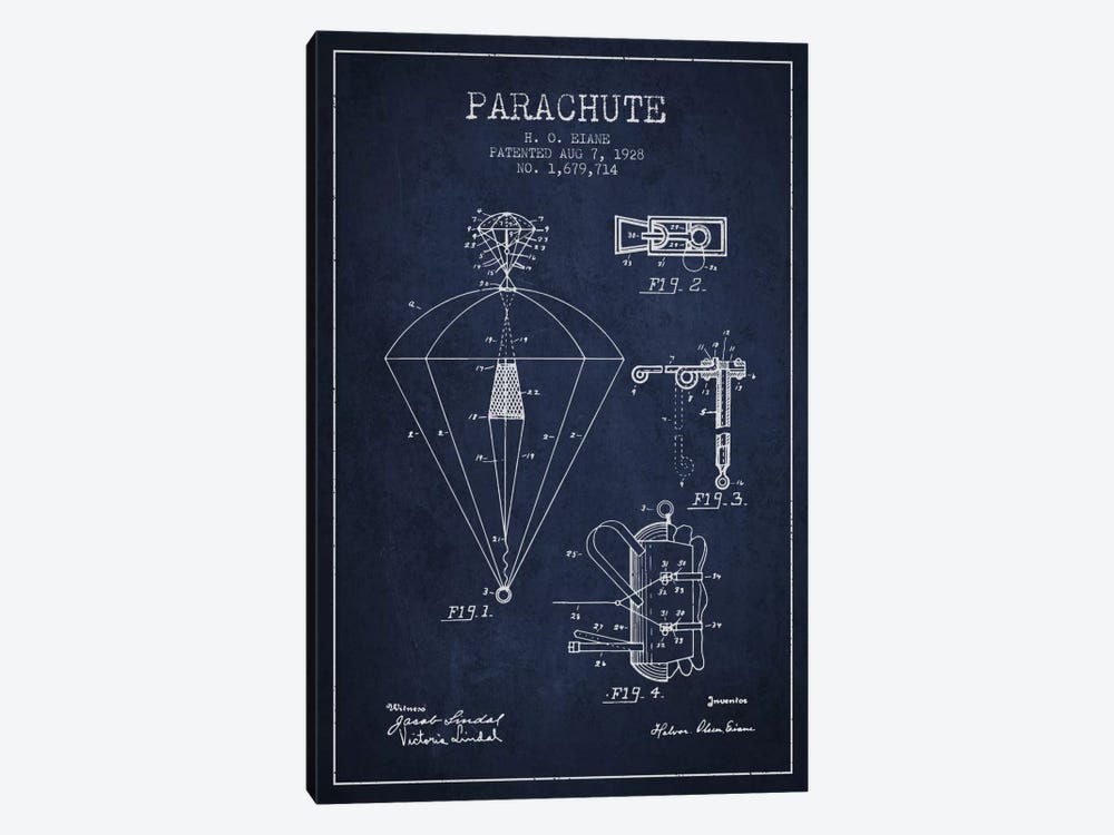 Parachute 6 Navy Blue Patent Blueprint by Aged Pixel 1-piece Canvas Wall Art