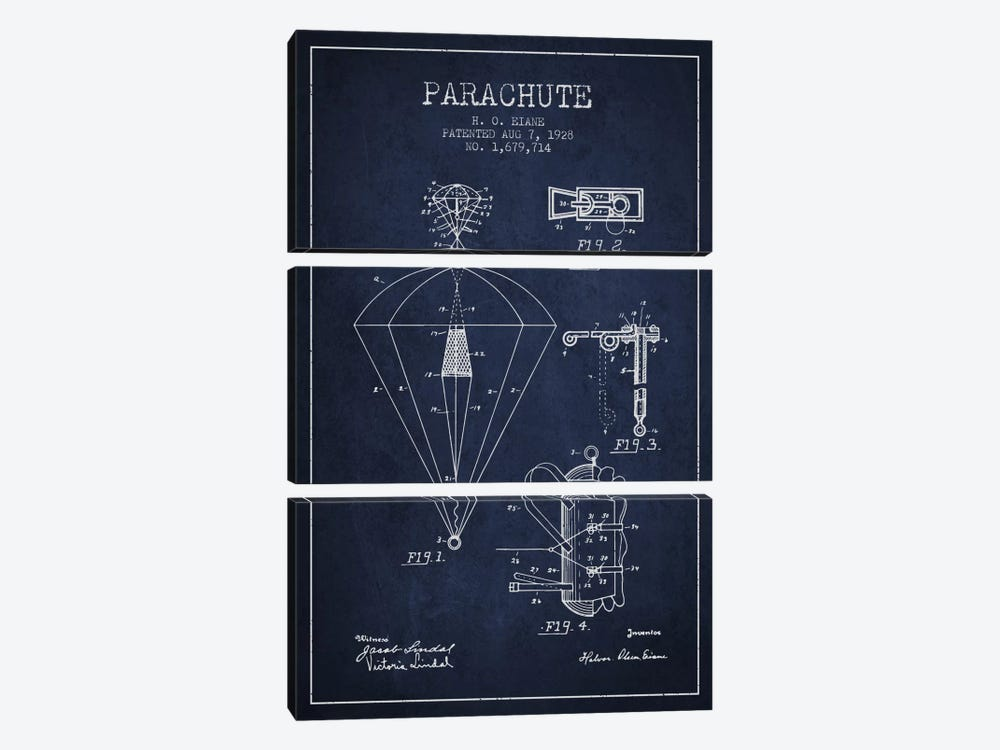 Parachute 6 Navy Blue Patent Blueprint by Aged Pixel 3-piece Canvas Wall Art