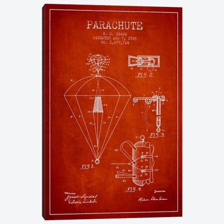 Parachute 6 Red Patent Blueprint Canvas Print #ADP2433} by Aged Pixel Canvas Print