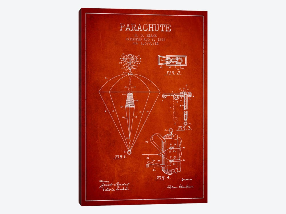 Parachute 6 Red Patent Blueprint by Aged Pixel 1-piece Art Print