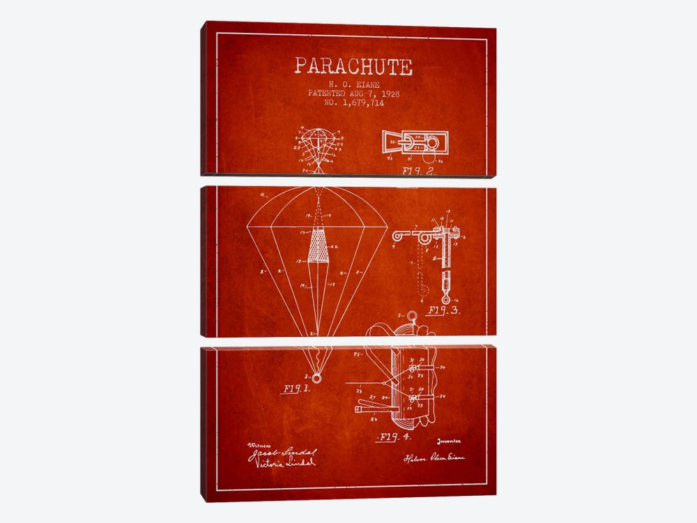 Parachute 6 Red Patent Blueprint by Aged Pixel 3-piece Canvas Art Print