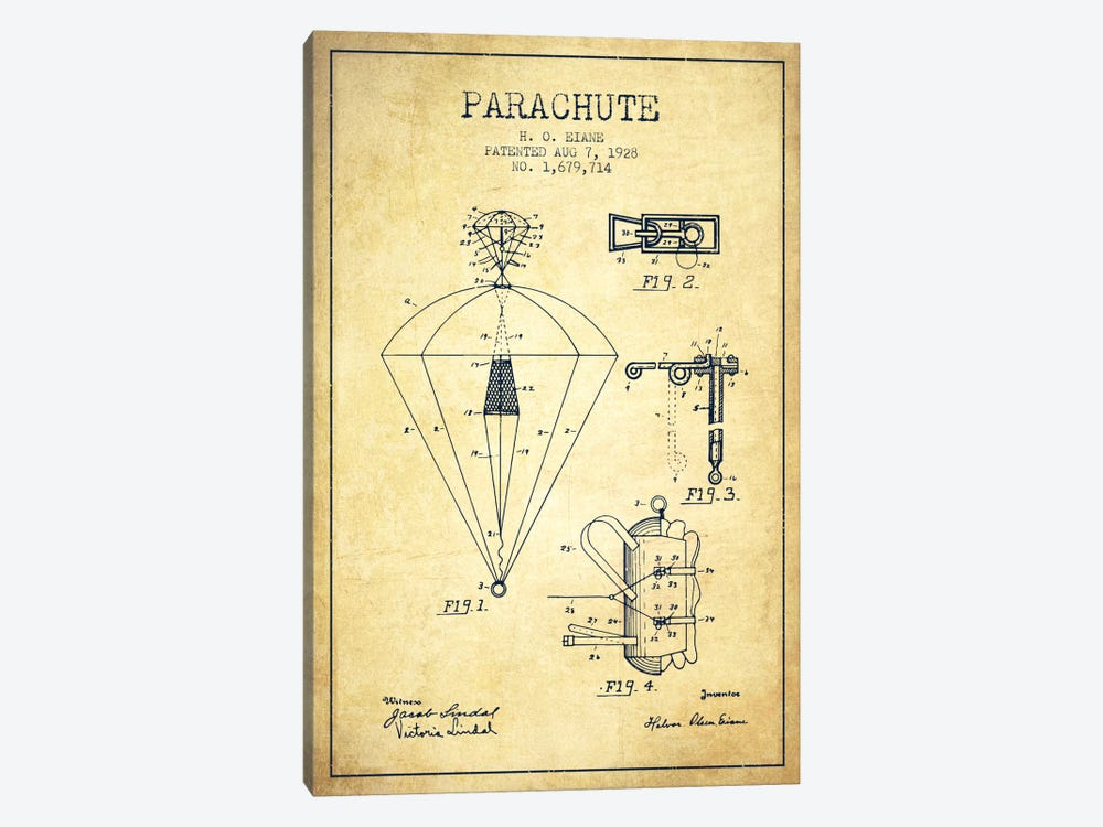 Parachute 6 Vintage Patent Blueprint 1-piece Canvas Art