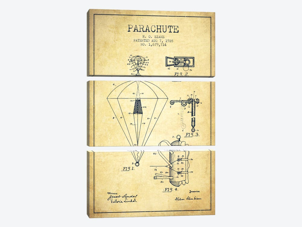 Parachute 6 Vintage Patent Blueprint by Aged Pixel 3-piece Canvas Wall Art