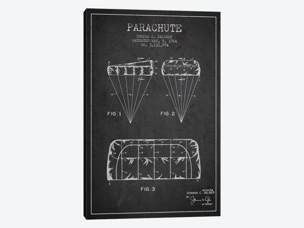 Parachute Charcoal Patent Blueprint by Aged Pixel 1-piece Canvas Art Print