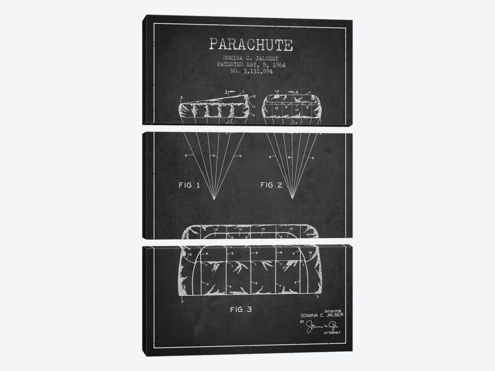 Parachute Charcoal Patent Blueprint by Aged Pixel 3-piece Canvas Print