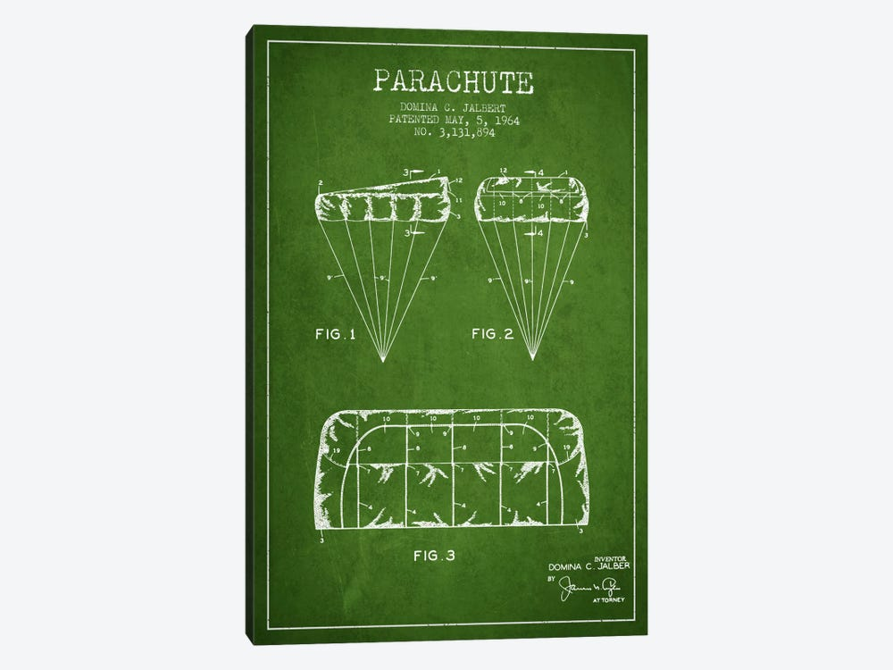 Parachute Green Patent Blueprint by Aged Pixel 1-piece Canvas Art