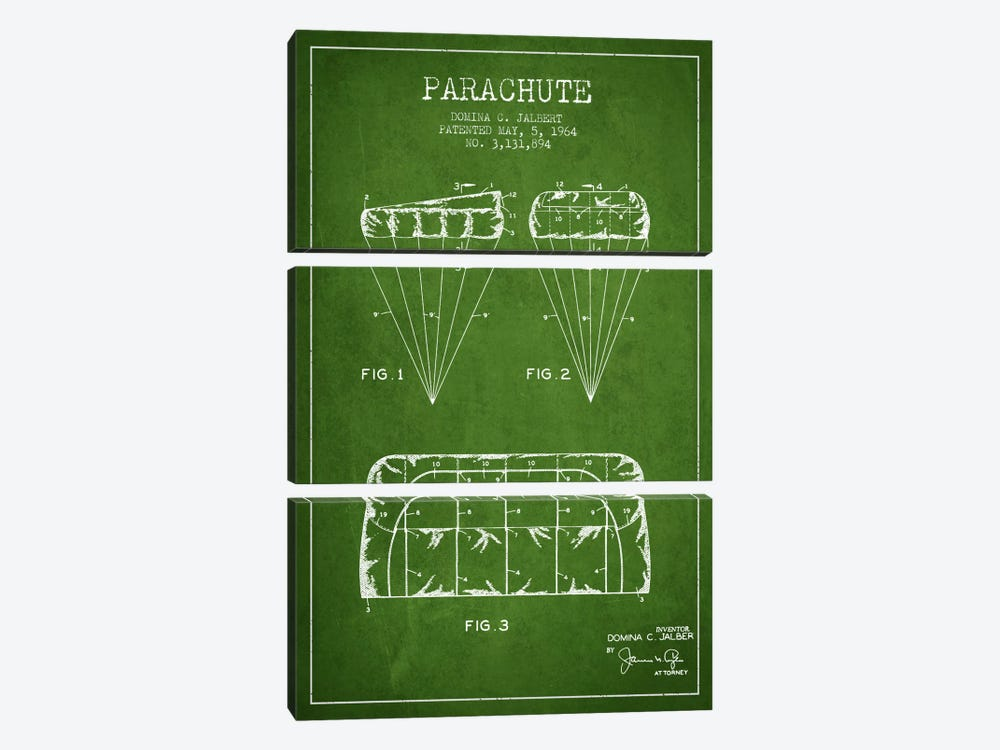 Parachute Green Patent Blueprint by Aged Pixel 3-piece Canvas Artwork