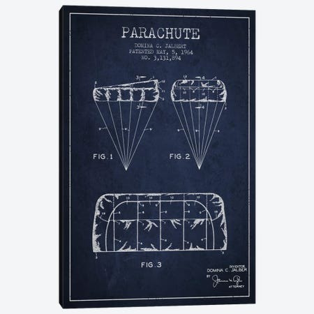 Parachute Navy Blue Patent Blueprint Canvas Print #ADP2437} by Aged Pixel Canvas Artwork
