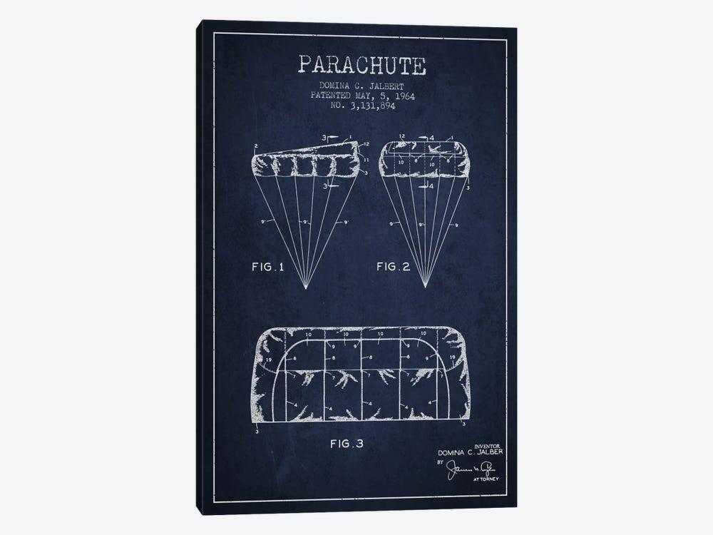 Parachute Navy Blue Patent Blueprint by Aged Pixel 1-piece Art Print