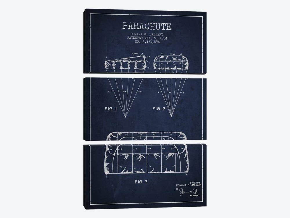 Parachute Navy Blue Patent Blueprint by Aged Pixel 3-piece Canvas Art Print