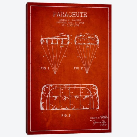 Parachute Red Patent Blueprint Canvas Print #ADP2438} by Aged Pixel Canvas Print
