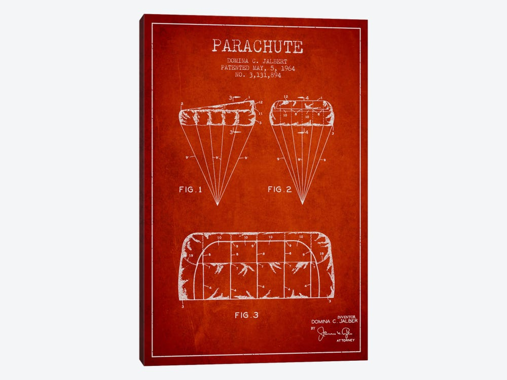 Parachute Red Patent Blueprint by Aged Pixel 1-piece Canvas Art