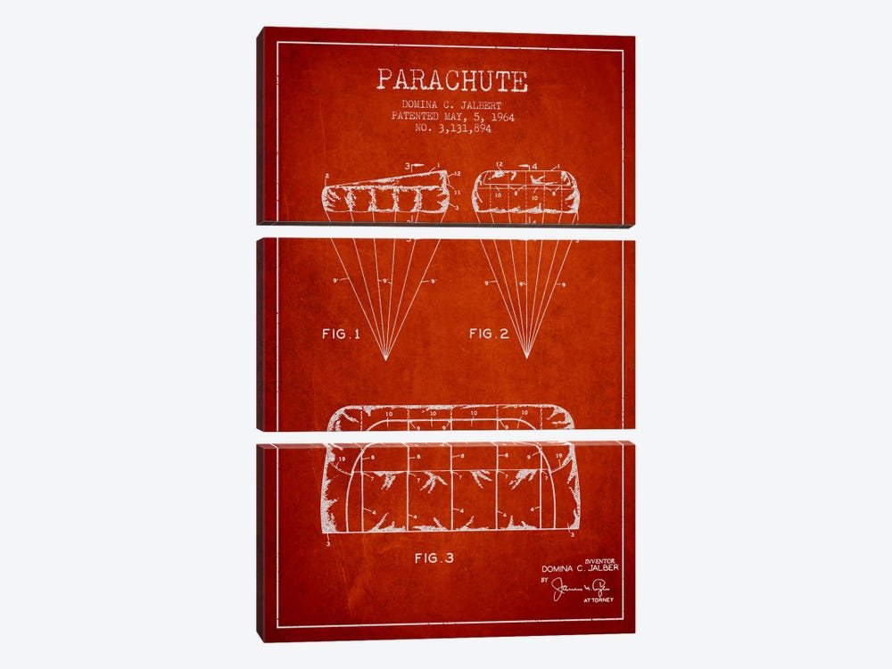 Parachute Red Patent Blueprint by Aged Pixel 3-piece Canvas Artwork