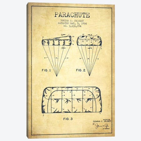 Parachute Vintage Patent Blueprint Canvas Print #ADP2439} by Aged Pixel Canvas Art Print