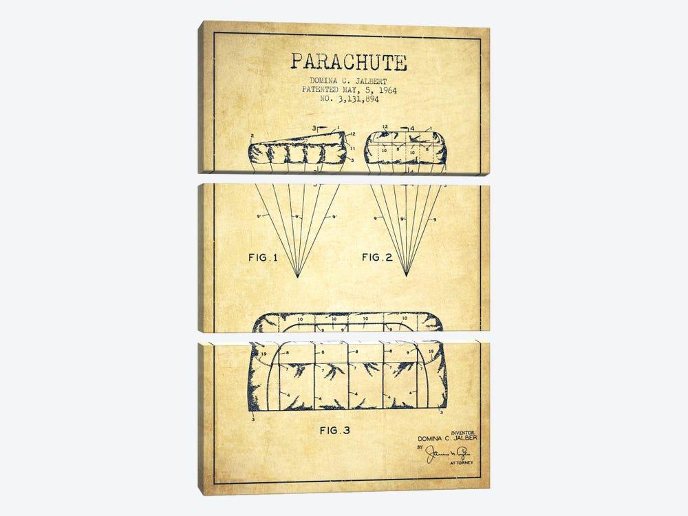 Parachute Vintage Patent Blueprint by Aged Pixel 3-piece Canvas Print