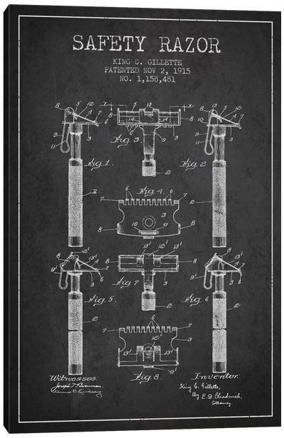 Razor Charcoal Patent Blueprint Canvas Print #ADP243