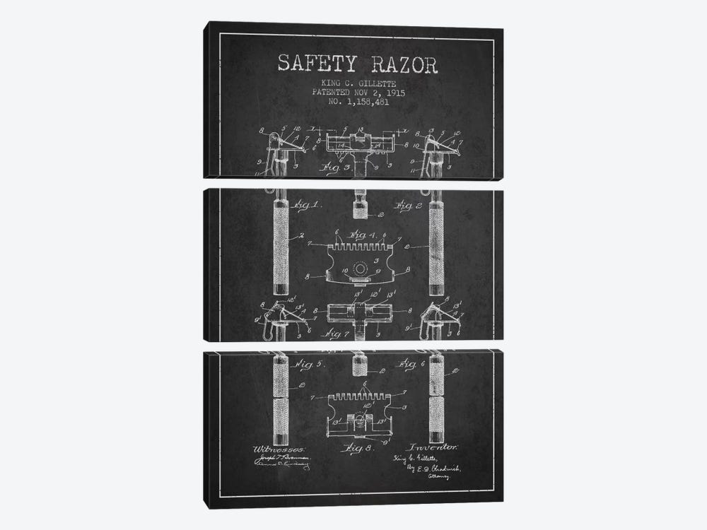 Razor Charcoal Patent Blueprint by Aged Pixel 3-piece Canvas Print