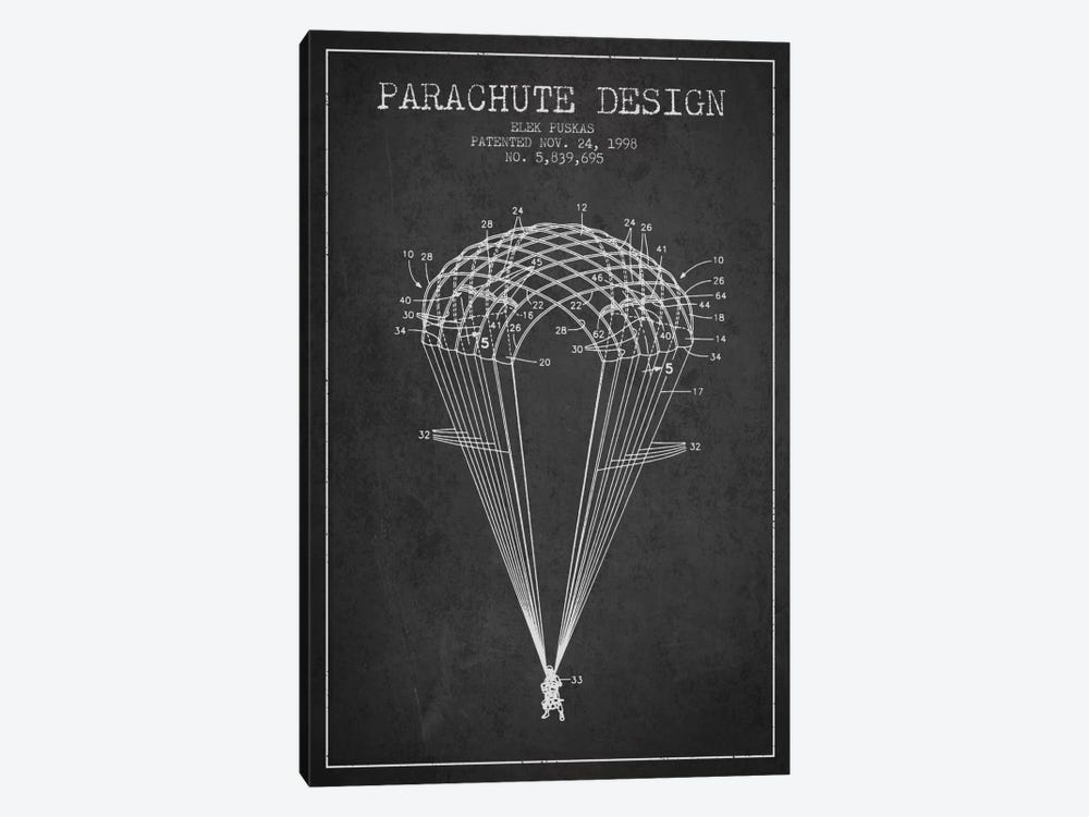 Parachute Design Charcoal Patent Blueprint by Aged Pixel 1-piece Canvas Print