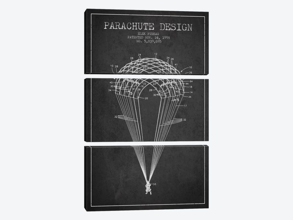 Parachute Design Charcoal Patent Blueprint by Aged Pixel 3-piece Canvas Print
