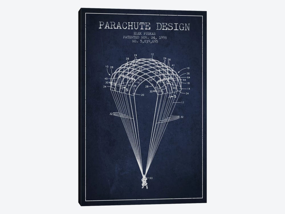 Parachute Design Navy Blue Patent Blueprint by Aged Pixel 1-piece Canvas Print