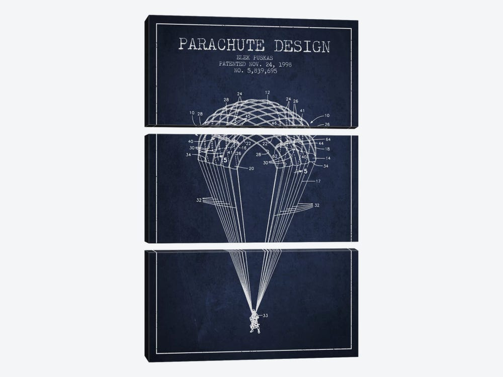 Parachute Design Navy Blue Patent Blueprint by Aged Pixel 3-piece Canvas Print