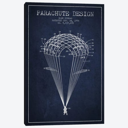 Parachute Design Navy Blue Patent Blueprint Canvas Print #ADP2442} by Aged Pixel Canvas Artwork