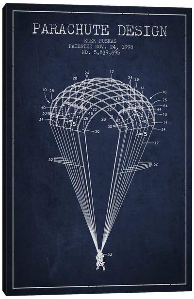Parachute Design Navy Blue Patent Blueprint Canvas Art Print