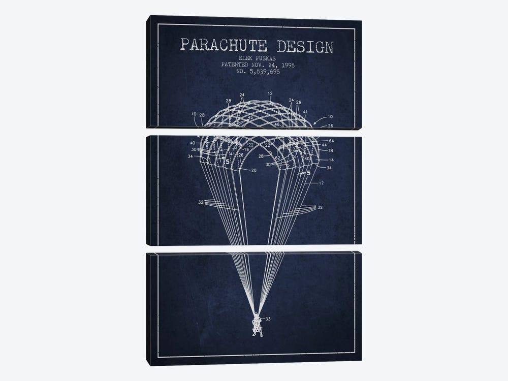 Parachute Design Navy Blue Patent Blueprint by Aged Pixel 3-piece Canvas Print