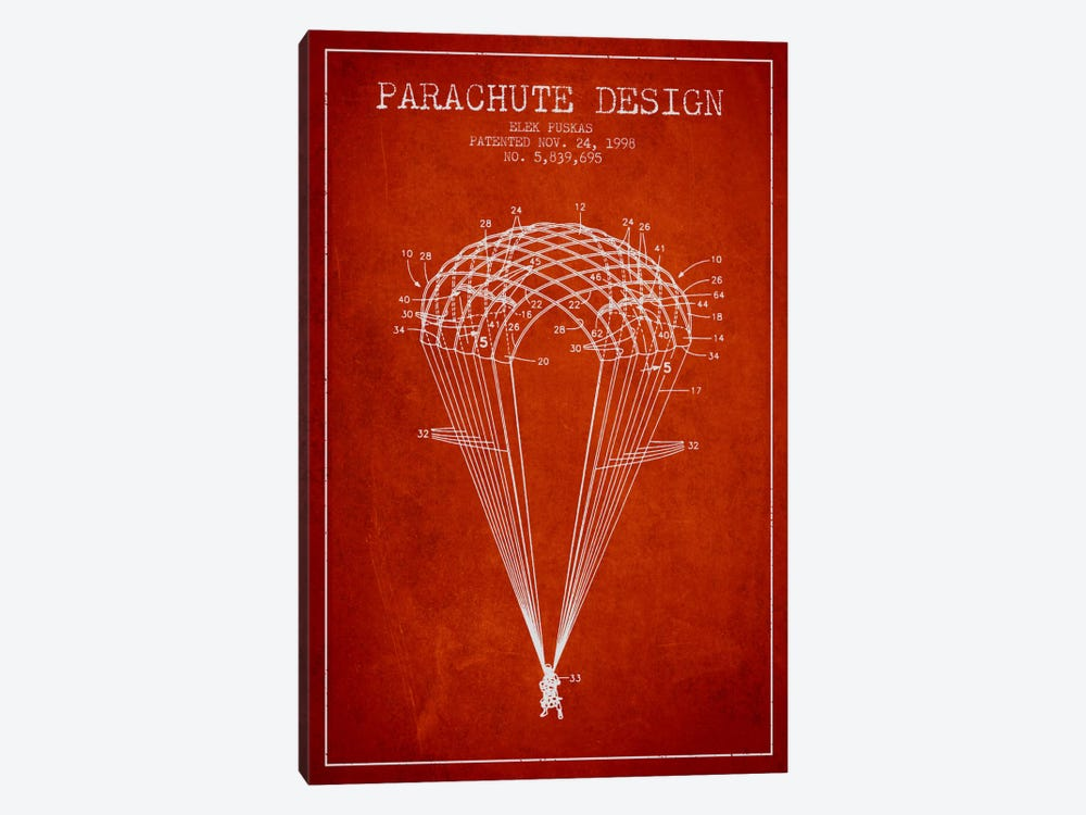 Parachute Design Red Patent Blueprint by Aged Pixel 1-piece Canvas Artwork