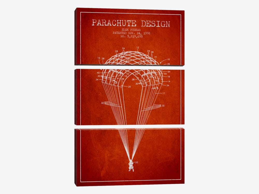 Parachute Design Red Patent Blueprint by Aged Pixel 3-piece Canvas Wall Art