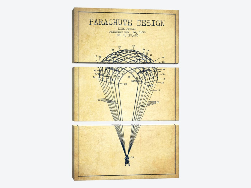 Parachute Design Vintage Patent Blueprint by Aged Pixel 3-piece Canvas Print