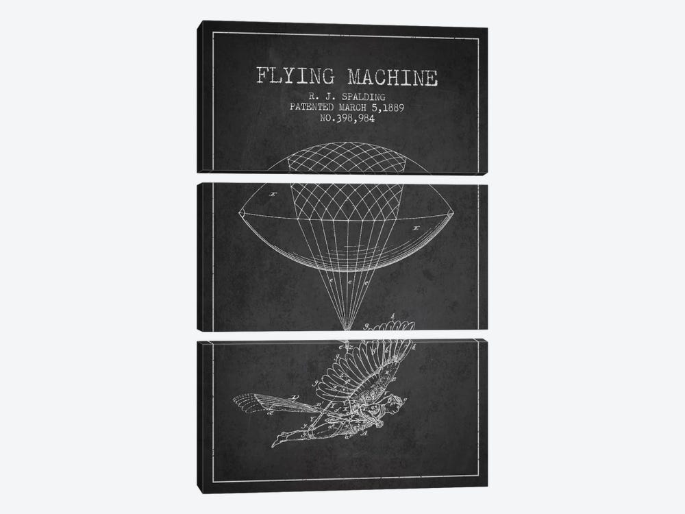 Icarus 5 Charcoal Patent Blueprint by Aged Pixel 3-piece Canvas Wall Art