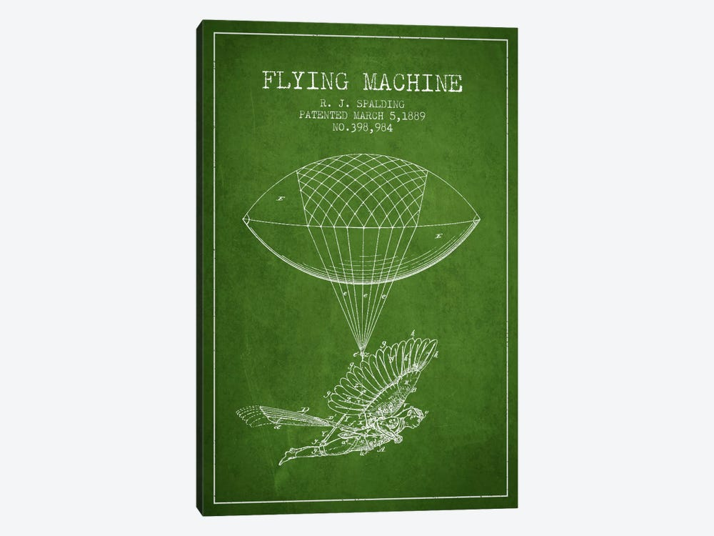 Icarus 5 Green Patent Blueprint by Aged Pixel 1-piece Art Print