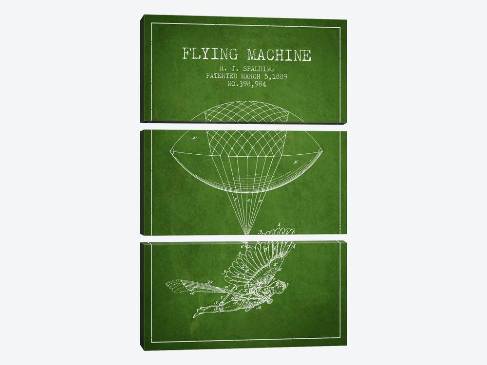 Icarus 5 Green Patent Blueprint by Aged Pixel 3-piece Art Print