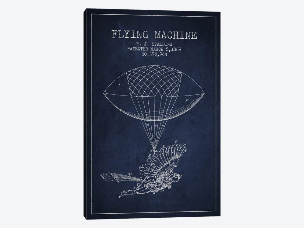Icarus 5 Navy Blue Patent Blueprint by Aged Pixel 1-piece Canvas Art