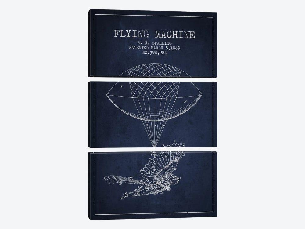 Icarus 5 Navy Blue Patent Blueprint by Aged Pixel 3-piece Canvas Artwork