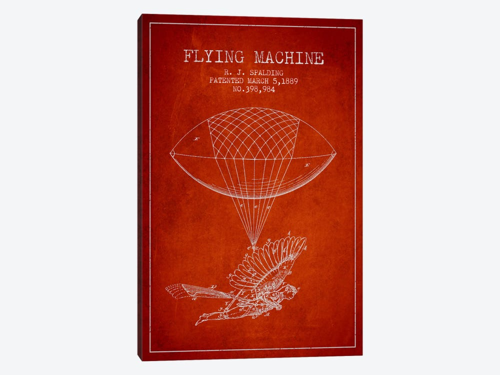 Icarus 5 Red Patent Blueprint by Aged Pixel 1-piece Art Print