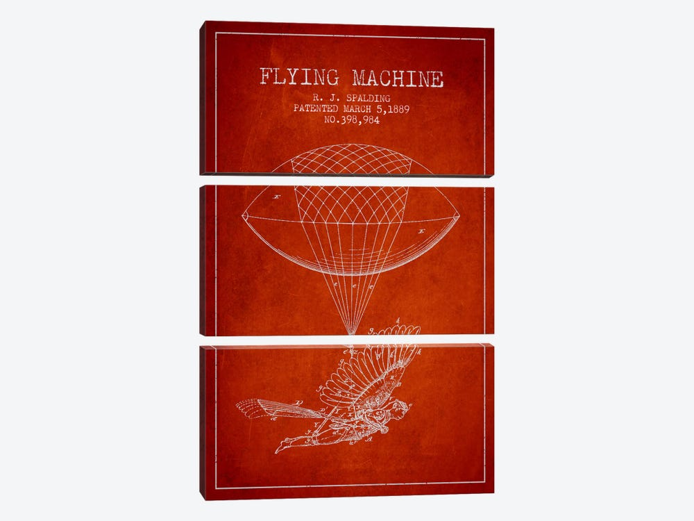 Icarus 5 Red Patent Blueprint by Aged Pixel 3-piece Canvas Print