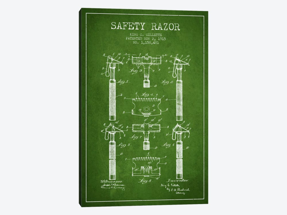 Razor Green Patent Blueprint by Aged Pixel 1-piece Canvas Art