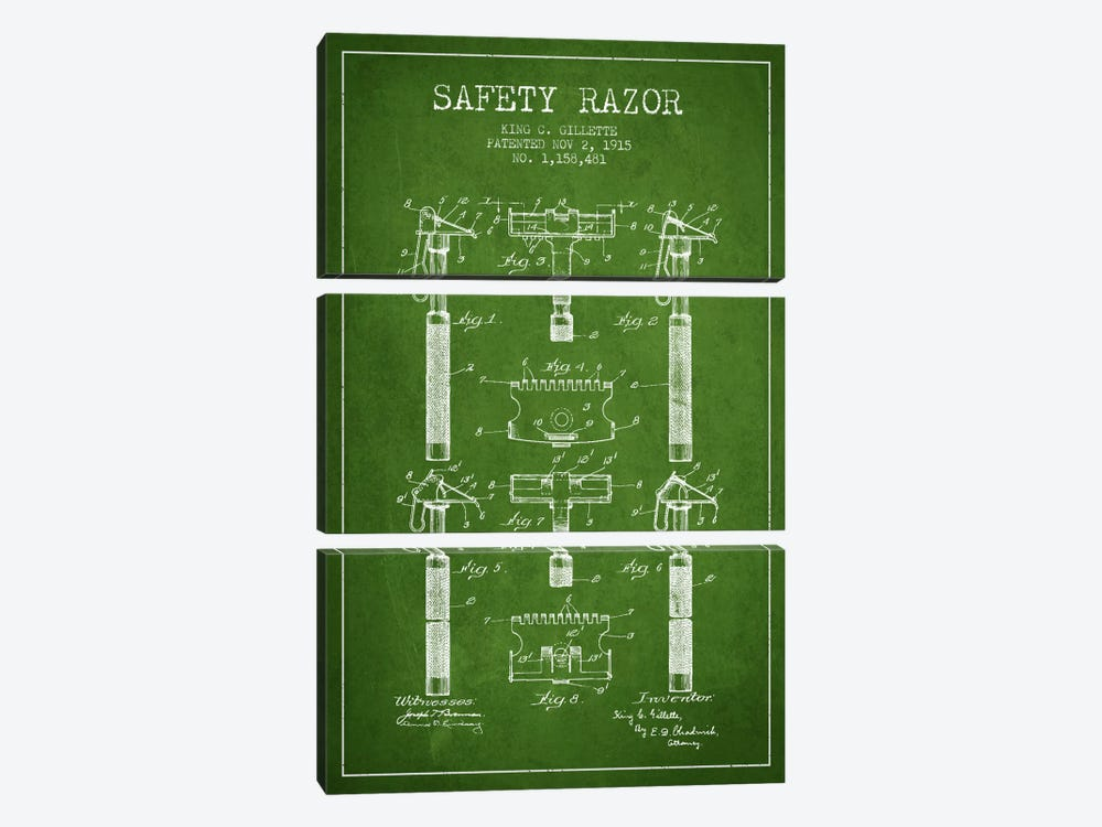 Razor Green Patent Blueprint by Aged Pixel 3-piece Canvas Art