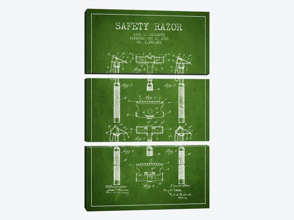 Razor Green Patent Blueprint by Aged Pixel 3-piece Canvas Art