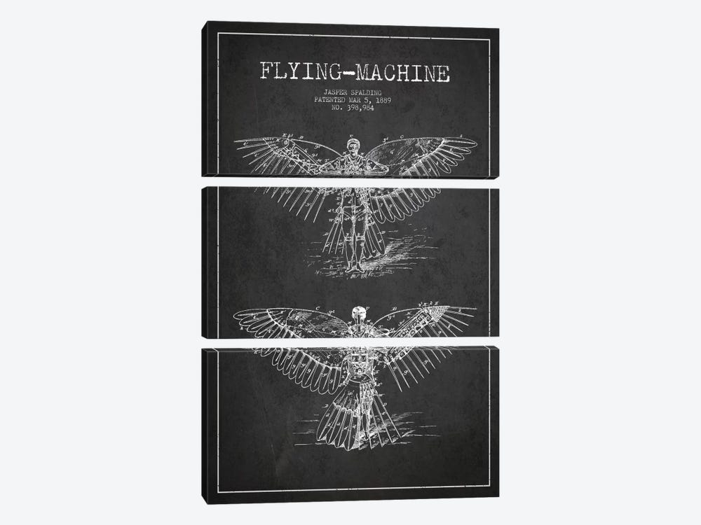 Icarus 3 Charcoal Patent Blueprint by Aged Pixel 3-piece Canvas Wall Art